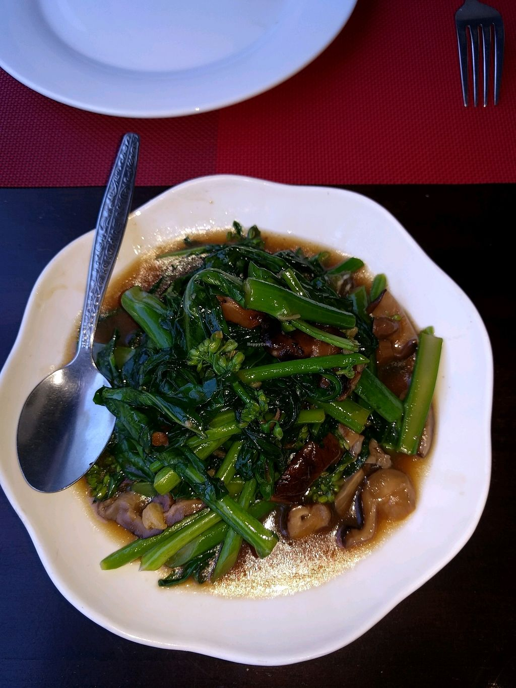 """Photo of Tamarind - A Taste of Laos  by <a href=""""/members/profile/mikeandsunny"""">mikeandsunny</a> <br/>greens and mushrooms <br/> January 24, 2018  - <a href='/contact/abuse/image/35117/350423'>Report</a>"""