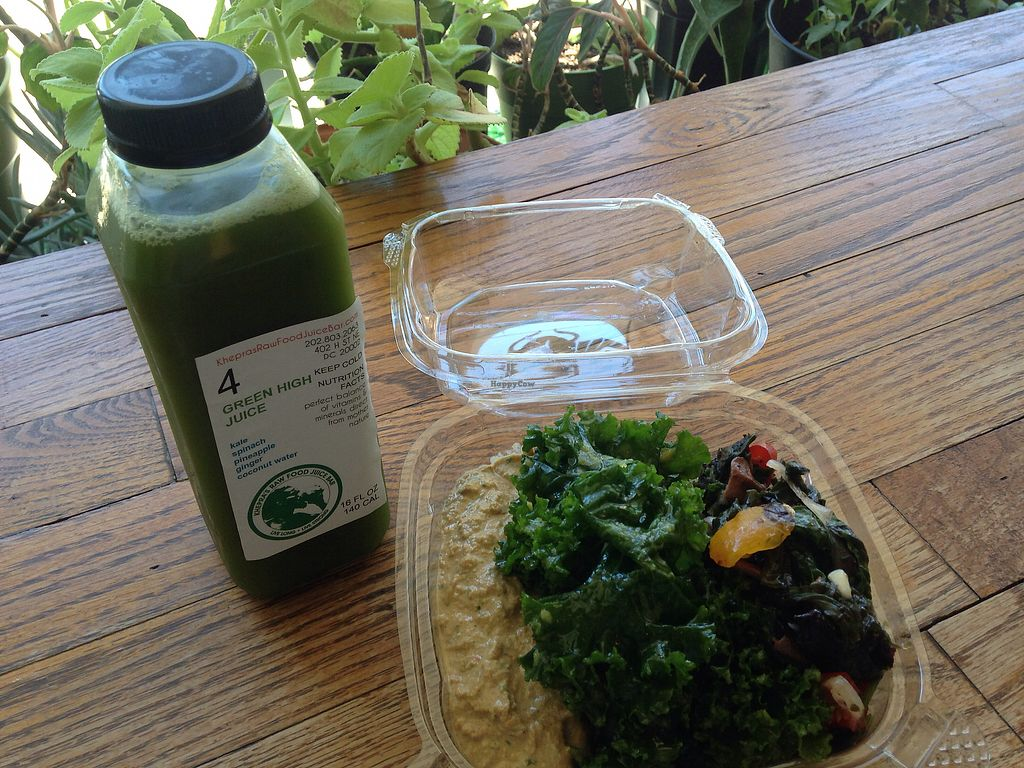 """Photo of Khepra Raw Food Juice Bar  by <a href=""""/members/profile/LDR"""">LDR</a> <br/>green juice & raw hummus, pineapple kale, and seaweed-veggie salad - delicious! <br/> August 6, 2017  - <a href='/contact/abuse/image/35159/289810'>Report</a>"""