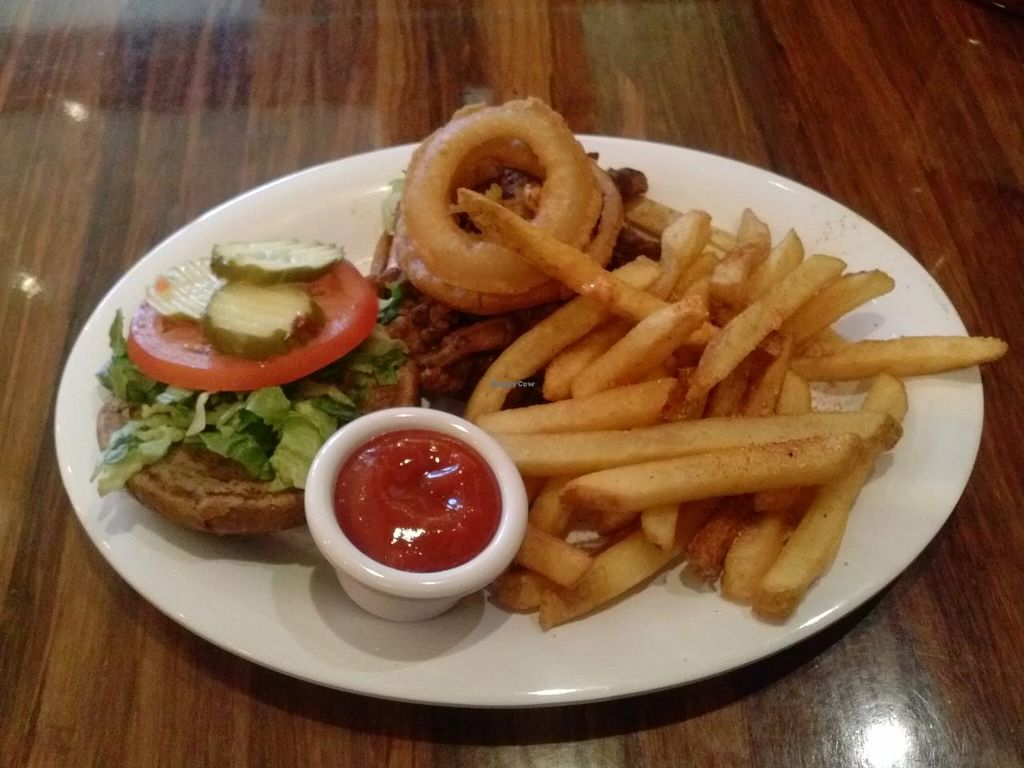 "Photo of Veggie Grill - Santana Row  by <a href=""/members/profile/Sonja%20and%20Dirk"">Sonja and Dirk</a> <br/>All American Stack sandwich with Yukon fries <br/> August 11, 2014  - <a href='/contact/abuse/image/35203/76709'>Report</a>"