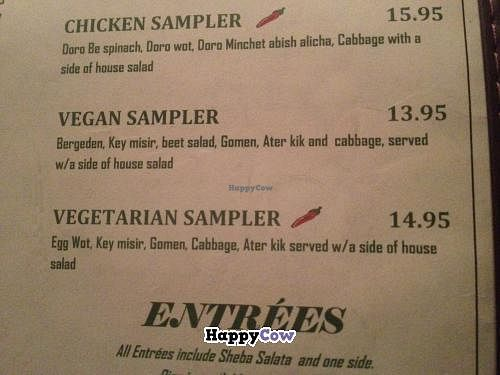 """Photo of Sheba Ethiopian Restaurant  by <a href=""""/members/profile/zanotab"""">zanotab</a> <br/>Photo of the Samplers section of the menu which features a vegetarian sampler and a vegan sampler.  <br/> December 9, 2013  - <a href='/contact/abuse/image/35212/60127'>Report</a>"""