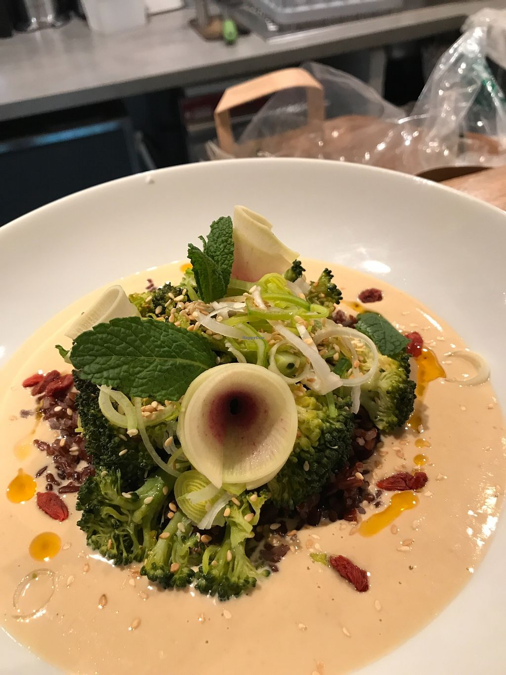 """Photo of Le Grenier de Notre Dame  by <a href=""""/members/profile/meire"""">meire</a> <br/>Wild rice from Camargue, roasted broccoli, sesame, radish, leek, goji berry, mint and soy cream. Perfect match!  <br/> March 26, 2018  - <a href='/contact/abuse/image/3523/376239'>Report</a>"""
