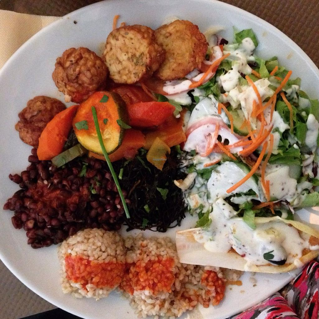 """Photo of Le Grenier de Notre Dame  by <a href=""""/members/profile/NaturallyJacalyn"""">NaturallyJacalyn</a> <br/>I ordered the first vegan plat on the menu and it was fantastic! It was brown rice and adzuki beans with tomato sauce, ratatouille vegetables, seitan, fresh crisp salad with creamy vegan dressing, endive with a pumpkin purée, and wakame seaweed.  <br/> March 28, 2015  - <a href='/contact/abuse/image/3523/97172'>Report</a>"""
