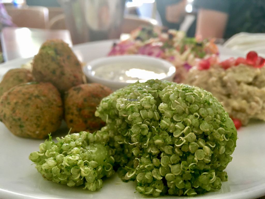 """Photo of Quinoa  by <a href=""""/members/profile/milos99"""">milos99</a> <br/>mezze platter - tabouleh, hummus, babaganoush, and apple cabbage current coleslaw <br/> April 12, 2017  - <a href='/contact/abuse/image/35265/247245'>Report</a>"""