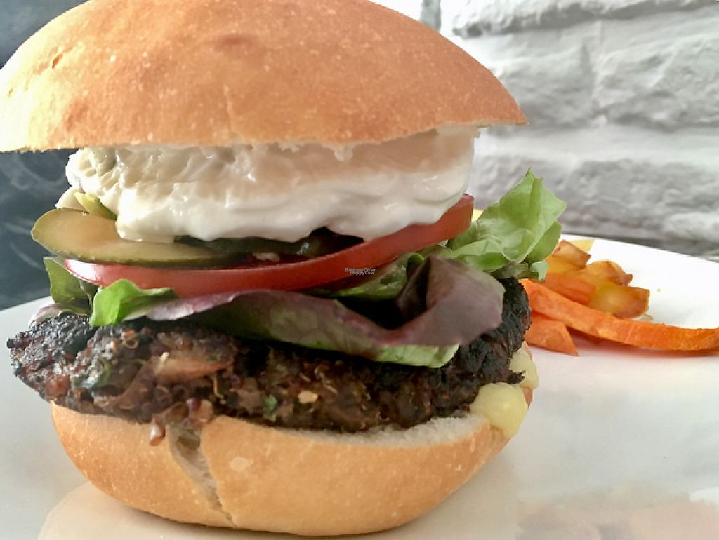 """Photo of Quinoa  by <a href=""""/members/profile/milos99"""">milos99</a> <br/>quinoa burger with Yukon gold and sweet potato fritas <br/> April 12, 2017  - <a href='/contact/abuse/image/35265/247247'>Report</a>"""