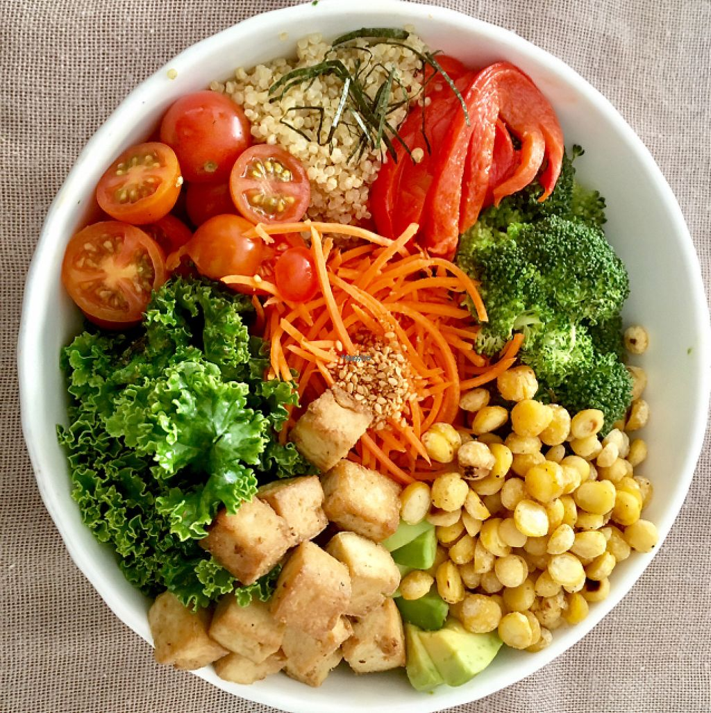 """Photo of Quinoa  by <a href=""""/members/profile/milos99"""">milos99</a> <br/>Buddha bowl - tofu, kale, roasted curried chickpeas, carrots, quinoa, tomatoes and peppers with a light peanut sauce <br/> April 12, 2017  - <a href='/contact/abuse/image/35265/247249'>Report</a>"""