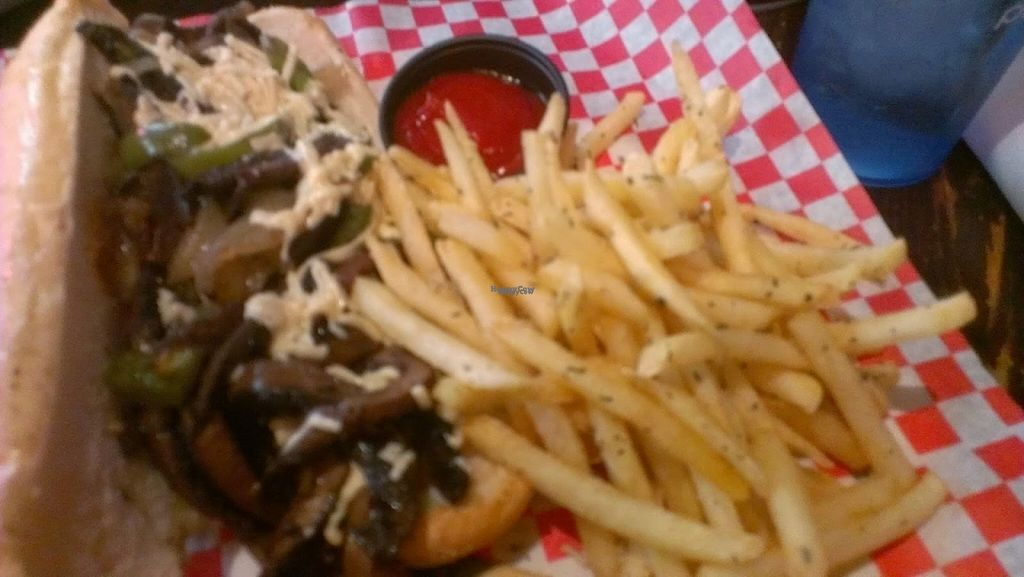 """Photo of Slice of Vegas Pizza  by <a href=""""/members/profile/veggie_htx"""">veggie_htx</a> <br/>Vegan Portabello Cheesesteak, with rosemary garlic fries <br/> August 27, 2016  - <a href='/contact/abuse/image/35288/171796'>Report</a>"""