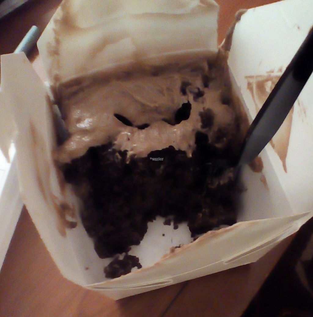"""Photo of Slice of Vegas Pizza  by <a href=""""/members/profile/plantamy"""">plantamy</a> <br/>Vegan chocolate cake w/ peanut butter frosting delivered to my hotel <br/> November 12, 2016  - <a href='/contact/abuse/image/35288/207940'>Report</a>"""