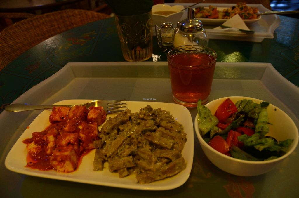 """Photo of Samadeva  by <a href=""""/members/profile/Ciad"""">Ciad</a> <br/>Tomato-y tofu, Stroganoff, Salad, Strawberry Drink <br/> February 20, 2016  - <a href='/contact/abuse/image/35294/137122'>Report</a>"""