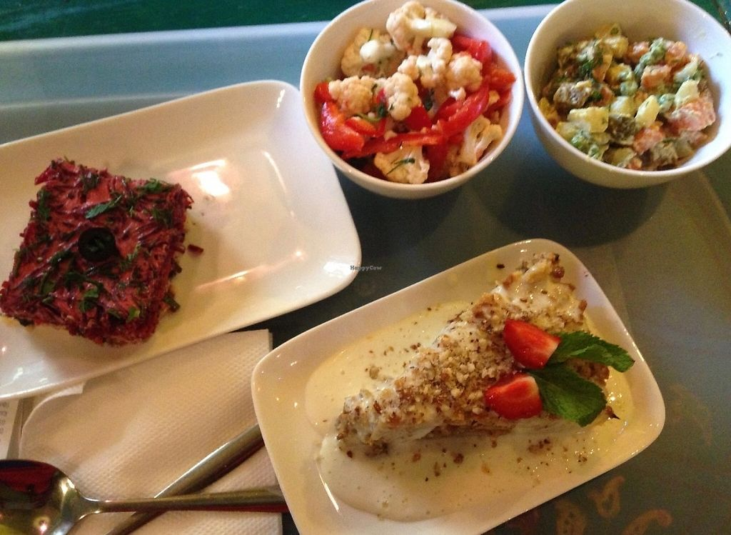 """Photo of Samadeva  by <a href=""""/members/profile/Cleolina"""">Cleolina</a> <br/>Carrot cake with vanilla cream, cauliflower salad, Russian salad, Beet with tofu <br/> July 9, 2016  - <a href='/contact/abuse/image/35294/243084'>Report</a>"""