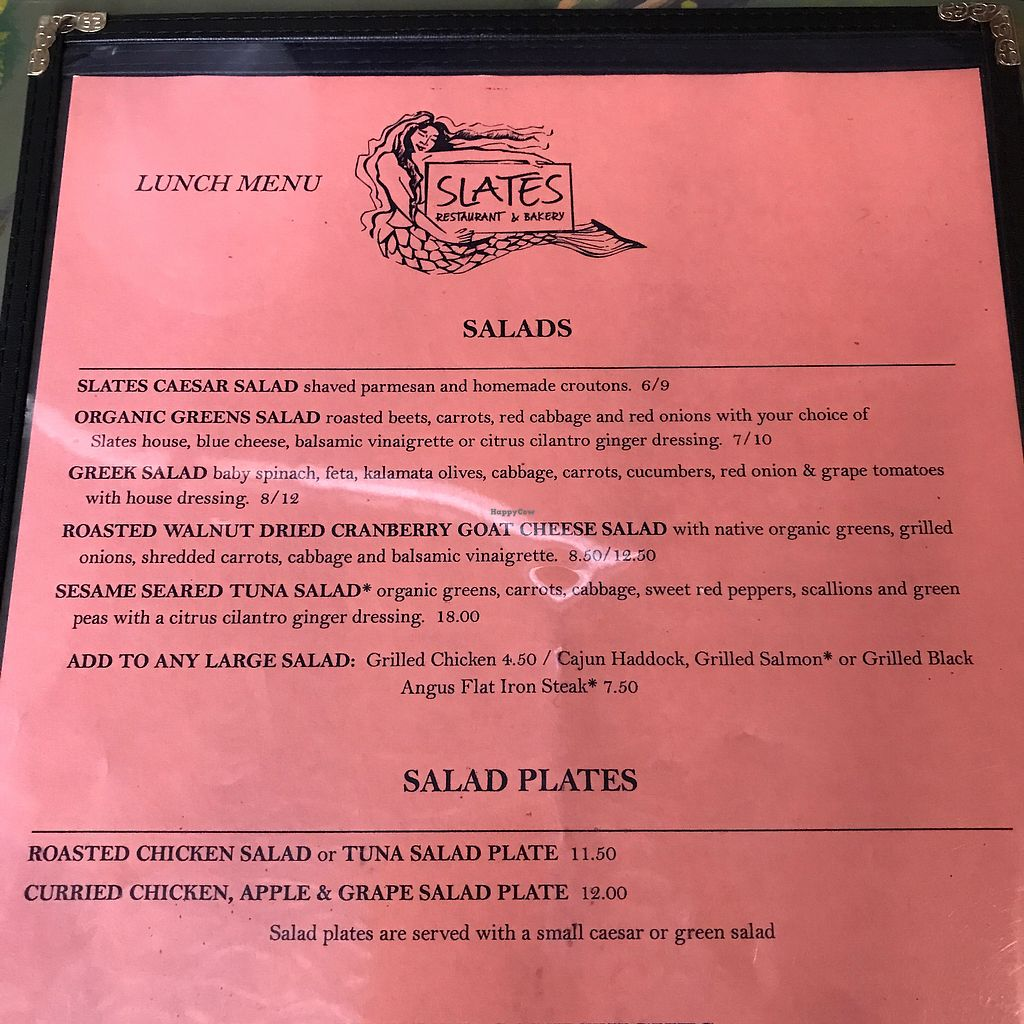 """Photo of Slate Restaurant and Bakery  by <a href=""""/members/profile/Sarah%20P"""">Sarah P</a> <br/>menu <br/> June 30, 2017  - <a href='/contact/abuse/image/35308/275087'>Report</a>"""