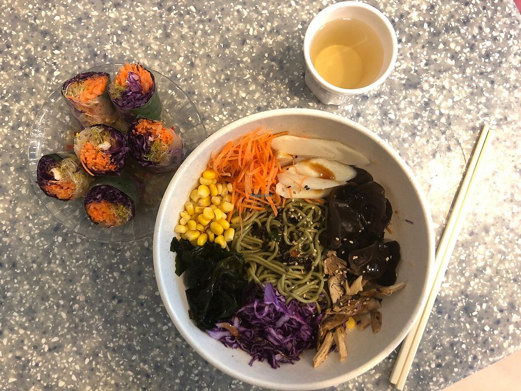 """Photo of Veggie Mama  by <a href=""""/members/profile/SamanthaIngridHo"""">SamanthaIngridHo</a> <br/>Veggie Mama Rice Paper Rolls and Korean Style Noodles <br/> April 11, 2018  - <a href='/contact/abuse/image/35309/383923'>Report</a>"""