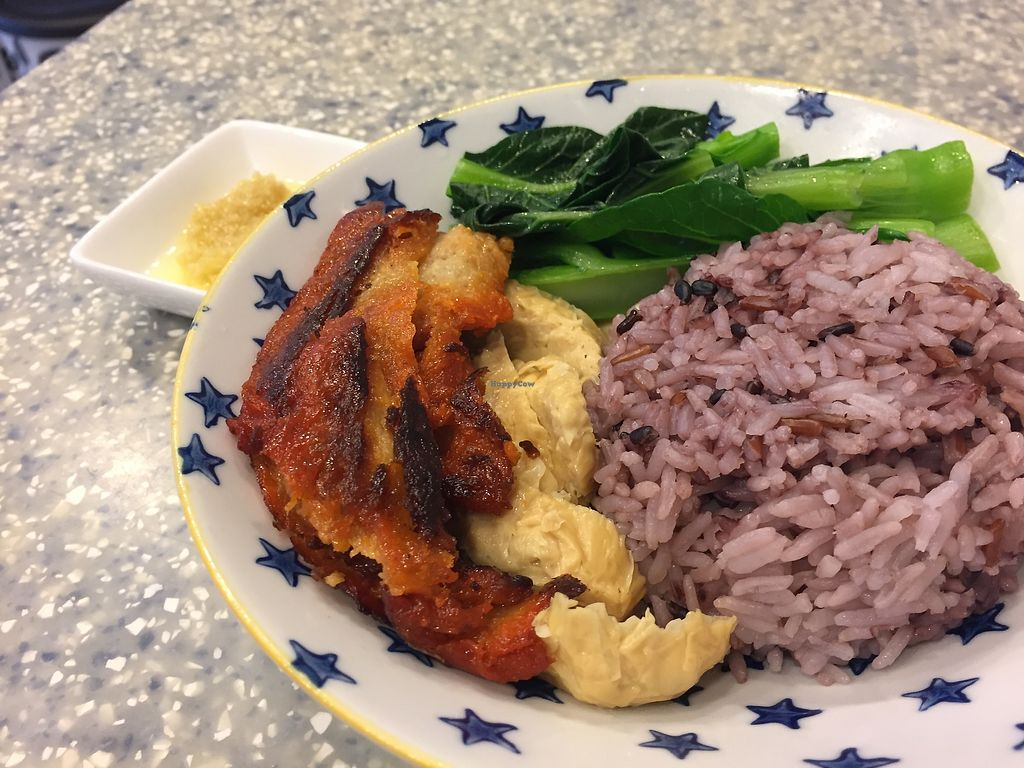 """Photo of Veggie Mama  by <a href=""""/members/profile/SamanthaIngridHo"""">SamanthaIngridHo</a> <br/>Vegan BBQ pork and Chicken rice <br/> April 13, 2018  - <a href='/contact/abuse/image/35309/385119'>Report</a>"""