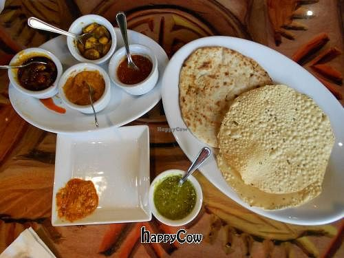 """Photo of Sanaa  by <a href=""""/members/profile/glassesgirl79"""">glassesgirl79</a> <br/>Vegan Indian bread sampler with dips at Sanaa <br/> November 19, 2012  - <a href='/contact/abuse/image/35367/40466'>Report</a>"""