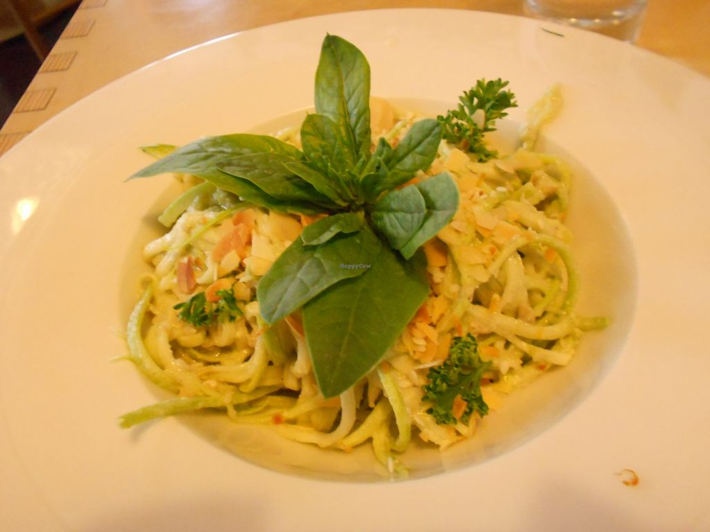 """Photo of Cafe Ukrop  by <a href=""""/members/profile/Sylvane"""">Sylvane</a> <br/>zucchini noodles with cream sauce, raw but fresh and delicious (starter) <br/> September 18, 2015  - <a href='/contact/abuse/image/35392/118210'>Report</a>"""