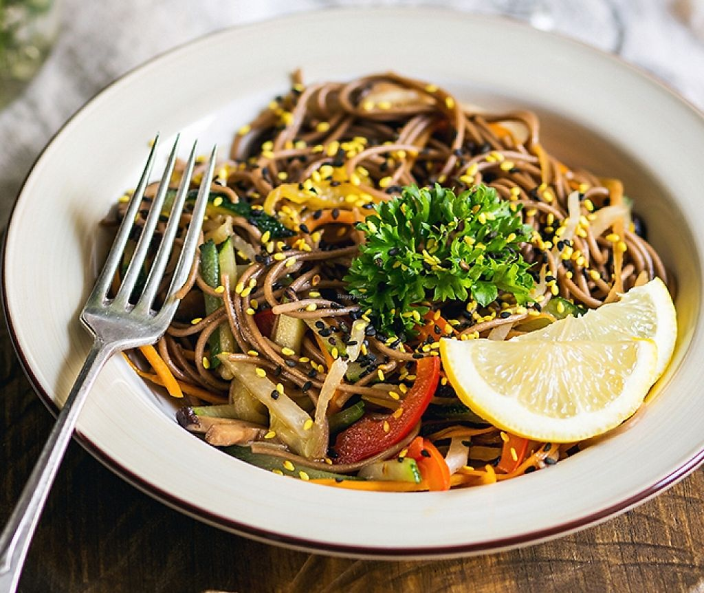 """Photo of Cafe Ukrop  by <a href=""""/members/profile/NikitaLao"""">NikitaLao</a> <br/>Buckwheat Noodles with vegetables & Shiitakes Mushrooms <br/> March 24, 2016  - <a href='/contact/abuse/image/35392/243183'>Report</a>"""