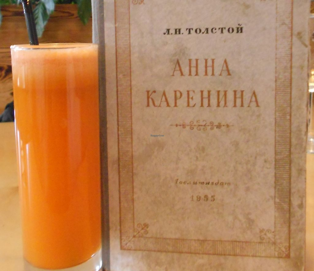 """Photo of Cafe Ukrop  by <a href=""""/members/profile/Sylvane"""">Sylvane</a> <br/>delicious fresh carrot juice, books available, here is Tolstoi, Anna Karenine  <br/> September 18, 2015  - <a href='/contact/abuse/image/35392/243186'>Report</a>"""