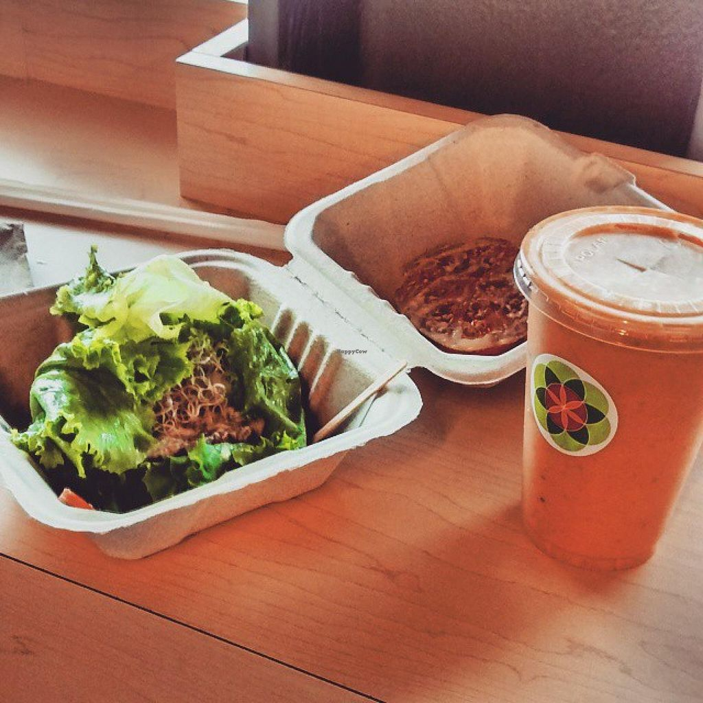 """Photo of CLOSED: Fruition - Seaport Farmers' Market  by <a href=""""/members/profile/QuothTheRaven"""">QuothTheRaven</a> <br/>Gardenburger and carrot cake smoothie <br/> April 11, 2015  - <a href='/contact/abuse/image/35417/98660'>Report</a>"""