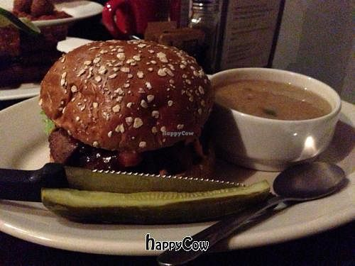 """Photo of The Chicago Diner - Logan Square  by <a href=""""/members/profile/SynthVegan"""">SynthVegan</a> <br/>BBQ bacon cheeseburger <br/> January 21, 2013  - <a href='/contact/abuse/image/35433/43243'>Report</a>"""