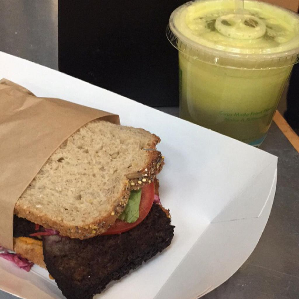 """Photo of Plum Pantry  by <a href=""""/members/profile/essaria"""">essaria</a> <br/>Jerk Tofu & Yam Sandwich and Gingerlicious Juice <br/> May 25, 2015  - <a href='/contact/abuse/image/35435/103411'>Report</a>"""