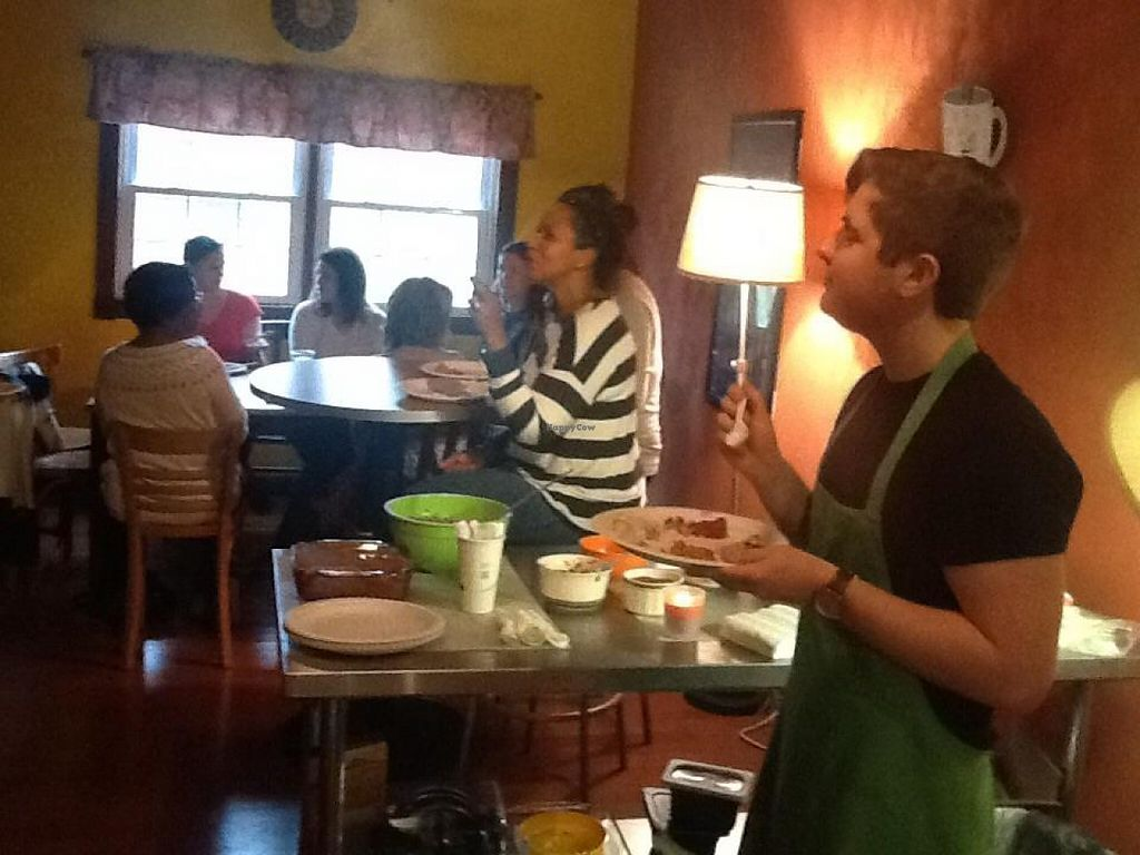 """Photo of Superfoods on Main  by <a href=""""/members/profile/jvcurtis"""">jvcurtis</a> <br/>After a raw vegan hands-on workshop, students and employees enjoy the feast they learned to make.  <br/> December 10, 2015  - <a href='/contact/abuse/image/35469/127794'>Report</a>"""