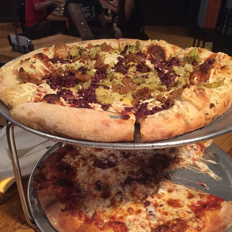 "Photo of The Mitten Brewing Co.  by <a href=""/members/profile/happycowgirl"">happycowgirl</a> <br/>double decker veggie pizzas! <br/> August 28, 2016  - <a href='/contact/abuse/image/35489/171874'>Report</a>"