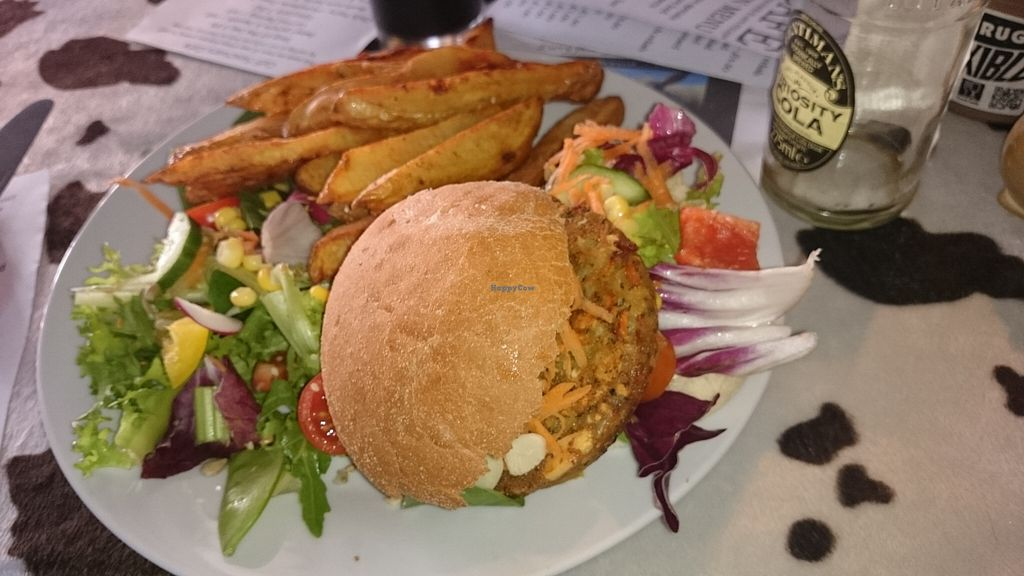 "Photo of Calf Sanctuary Cafe  by <a href=""/members/profile/Schulie"">Schulie</a> <br/>Carrot & parsnip burger <br/> October 3, 2015  - <a href='/contact/abuse/image/35491/120023'>Report</a>"