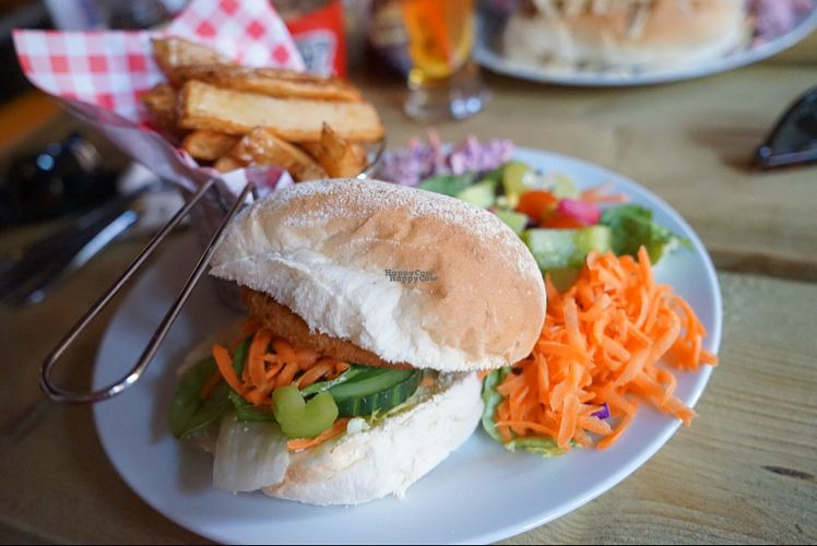 "Photo of Calf Sanctuary Cafe  by <a href=""/members/profile/Coawarren"">Coawarren</a> <br/>Chicken Burger. Very nice. be sure to try the sauces!  <br/> August 24, 2016  - <a href='/contact/abuse/image/35491/171229'>Report</a>"