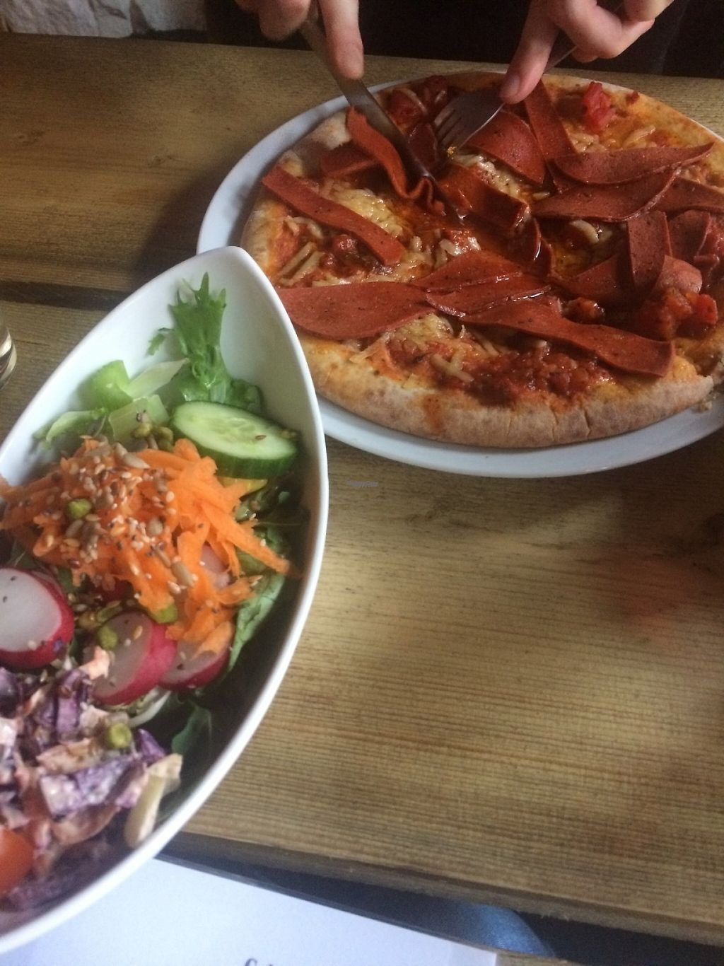 "Photo of Calf Sanctuary Cafe  by <a href=""/members/profile/DalmaF"">DalmaF</a> <br/>Pepperoni pizza with salad <br/> March 23, 2017  - <a href='/contact/abuse/image/35491/239887'>Report</a>"