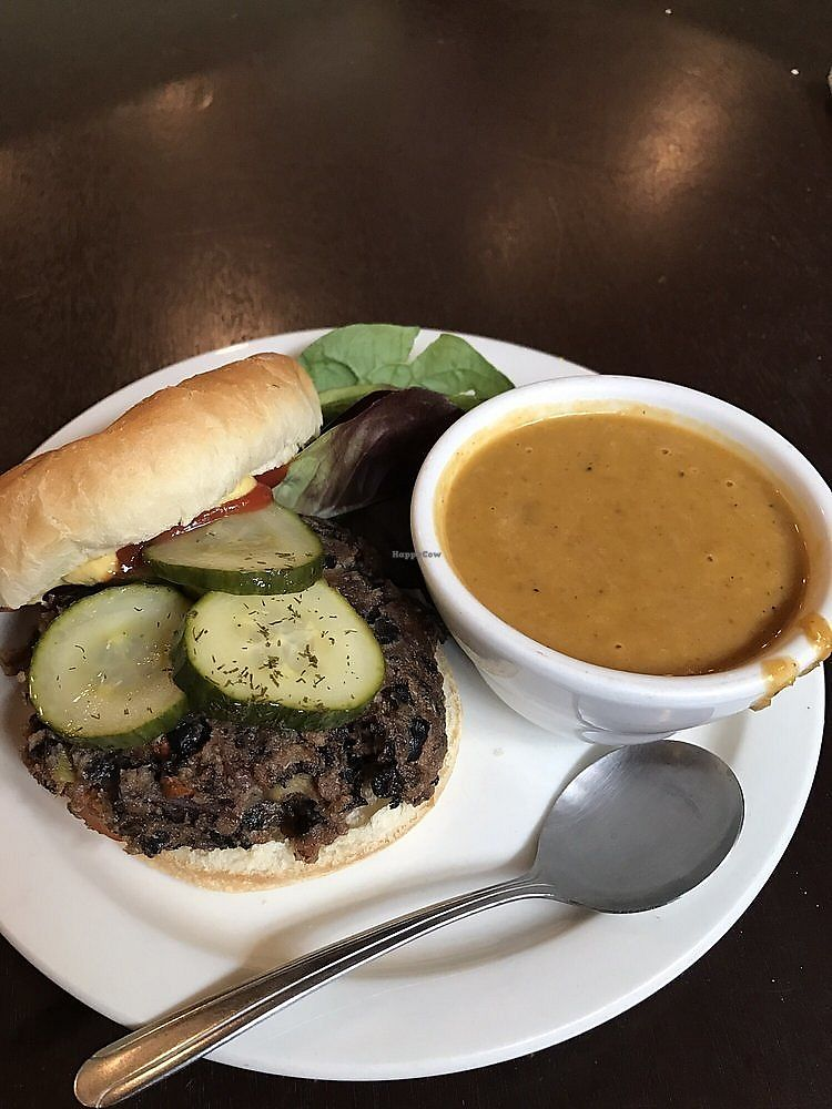"Photo of Webster's Cafe  by <a href=""/members/profile/nlevine94"">nlevine94</a> <br/>Vegan black bean burger with side butternut squash soup. Divine <br/> November 11, 2017  - <a href='/contact/abuse/image/35505/324297'>Report</a>"