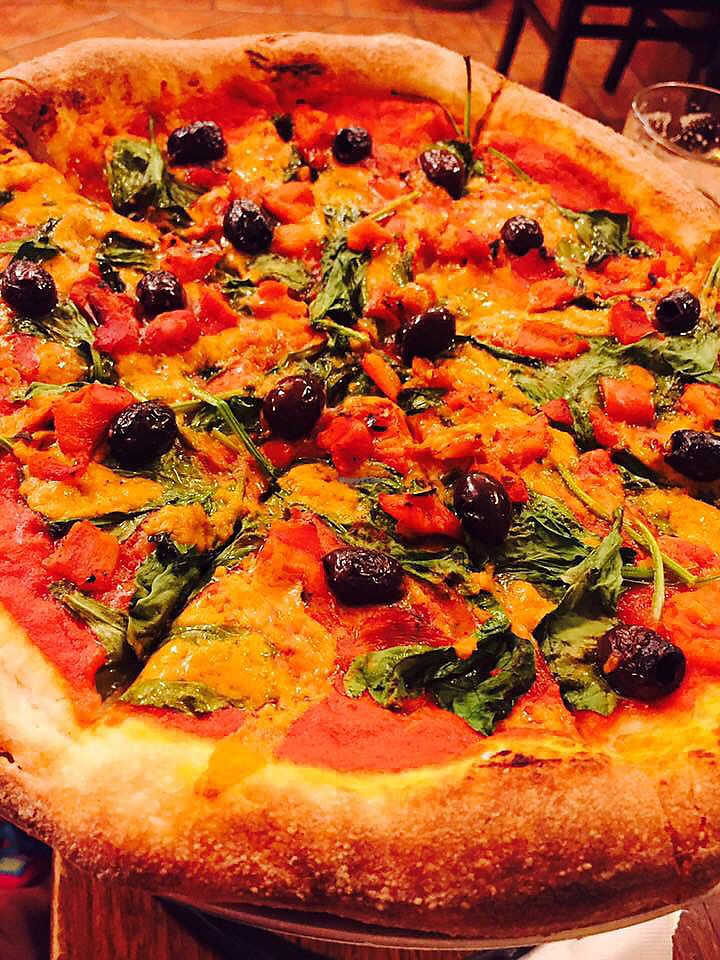 """Photo of New Jersey Pizza Company  by <a href=""""/members/profile/Shawna_01"""">Shawna_01</a> <br/>Vegan- Spinach Roasted Red Peppers Olives  <br/> July 25, 2017  - <a href='/contact/abuse/image/3550/284786'>Report</a>"""