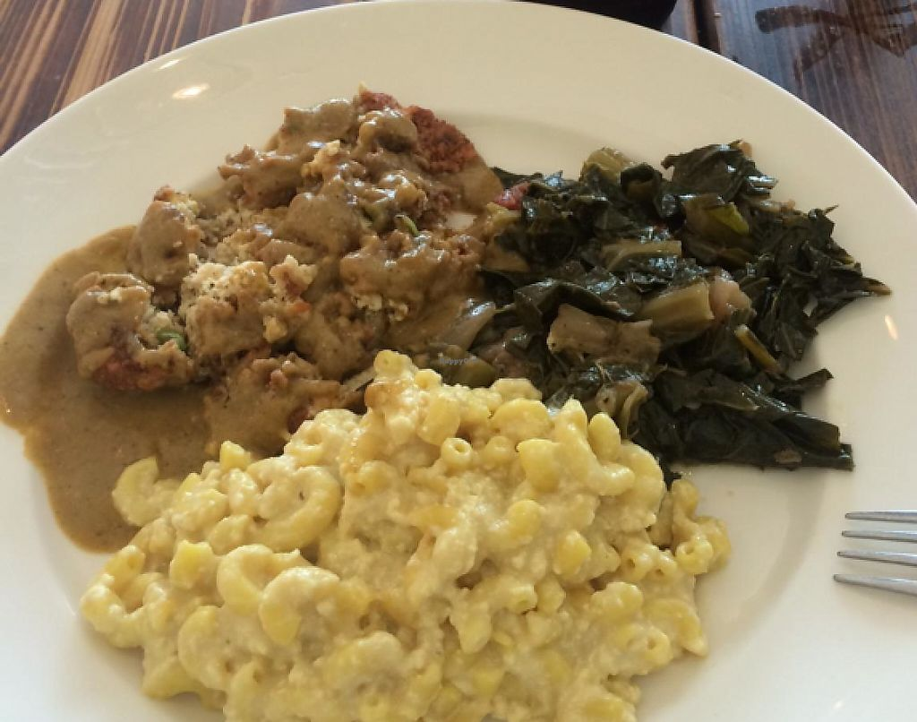"Photo of Southern Charm Kitchen  by <a href=""/members/profile/VeganicMom"">VeganicMom</a> <br/>Country Fried Tofu, vegan mac, pickled greens <br/> March 17, 2015  - <a href='/contact/abuse/image/35549/195896'>Report</a>"