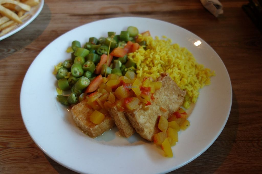 "Photo of Southern Charm Kitchen  by <a href=""/members/profile/RachaelSera"">RachaelSera</a> <br/>Watermelon Tofu with Rice and Okra <br/> June 1, 2017  - <a href='/contact/abuse/image/35549/264687'>Report</a>"
