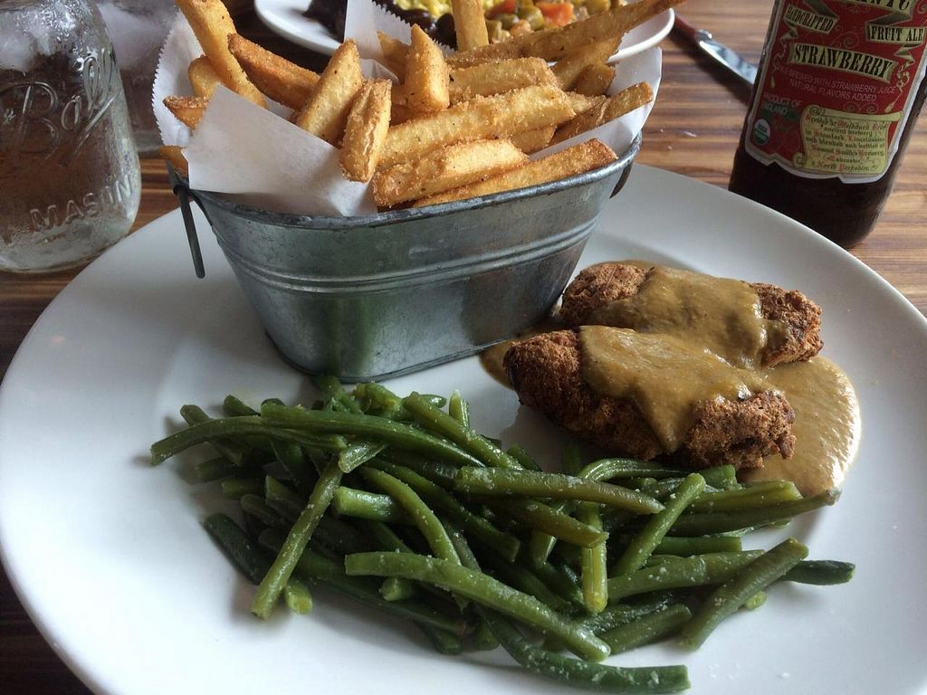 "Photo of Southern Charm Kitchen  by <a href=""/members/profile/kmilitello"">kmilitello</a> <br/>Country fried tofu, Cajun fries, and green beans <br/> October 22, 2014  - <a href='/contact/abuse/image/35549/83666'>Report</a>"
