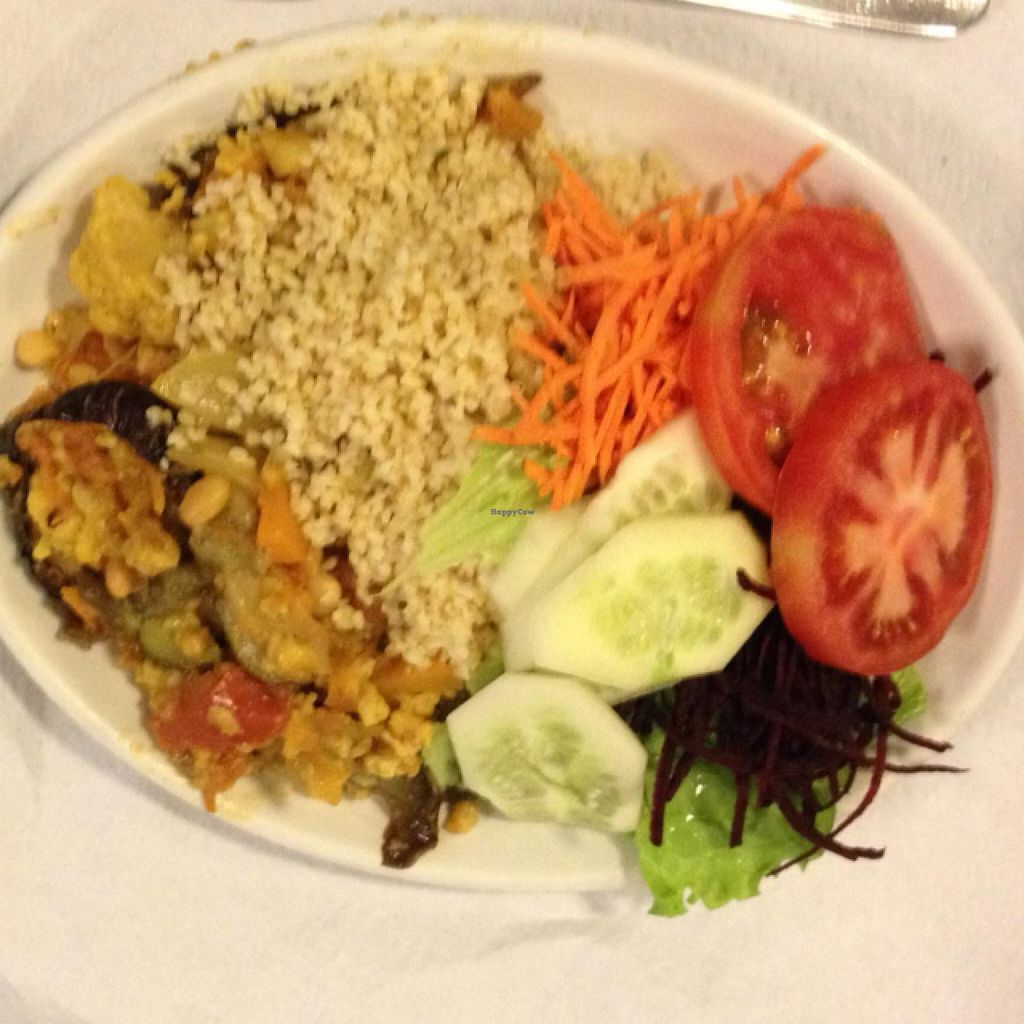 """Photo of Bioforma Restaurant  by <a href=""""/members/profile/Marianne1967"""">Marianne1967</a> <br/>Roasted aubergines with bulgur and salad <br/> May 16, 2015  - <a href='/contact/abuse/image/35556/102379'>Report</a>"""