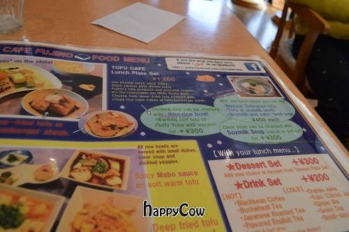 "Photo of Tofu Cafe Fujino  by <a href=""/members/profile/Shauna333"">Shauna333</a> <br/>Menu <br/> April 28, 2013  - <a href='/contact/abuse/image/35561/47453'>Report</a>"