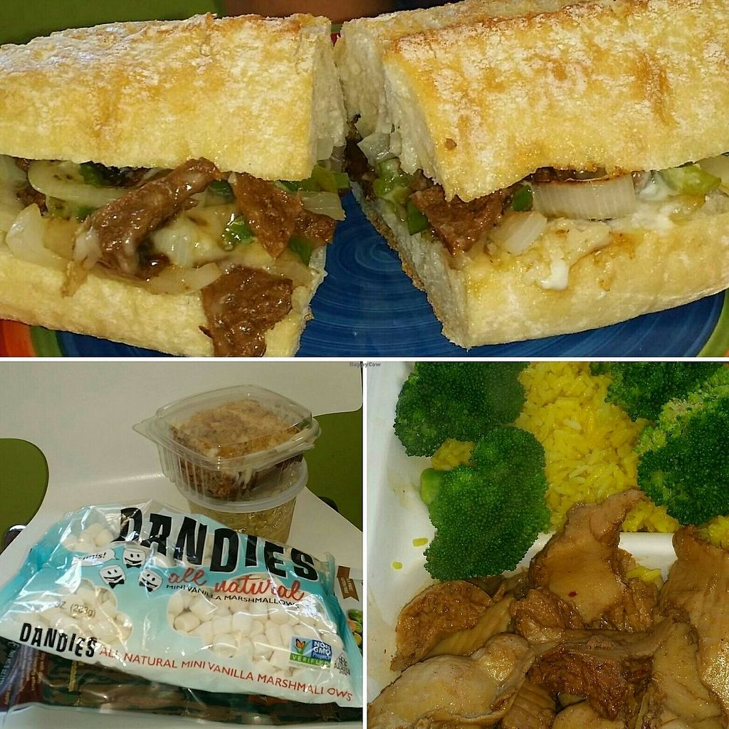 """Photo of Vegan to Goloka  by <a href=""""/members/profile/maltinej"""">maltinej</a> <br/>philly cheeze steik sandwich, snacks and rice brocoli and chikn <br/> August 12, 2017  - <a href='/contact/abuse/image/35589/291745'>Report</a>"""