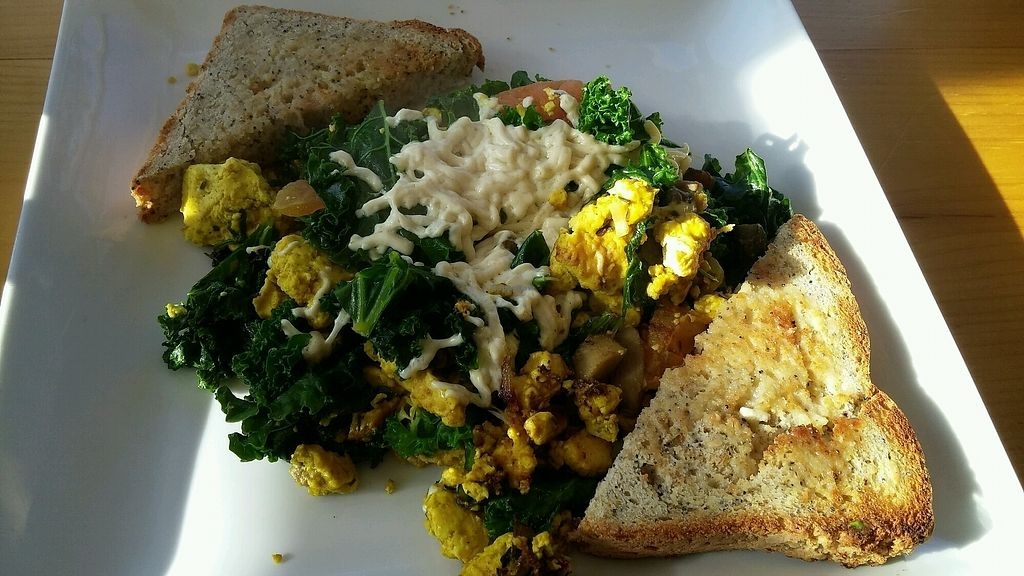 "Photo of Heirloom Food Company  by <a href=""/members/profile/jujutsuka"">jujutsuka</a> <br/>tofu scramble vegan cheese <br/> January 2, 2018  - <a href='/contact/abuse/image/35592/342139'>Report</a>"