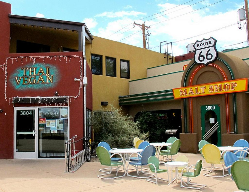 Photo of Thai Vegan - Nob Hill  by RamblingVegans <br/>Thai Vegan- located on the old Route 66.   <br/> March 2, 2014  - <a href='/contact/abuse/image/35625/65089'>Report</a>