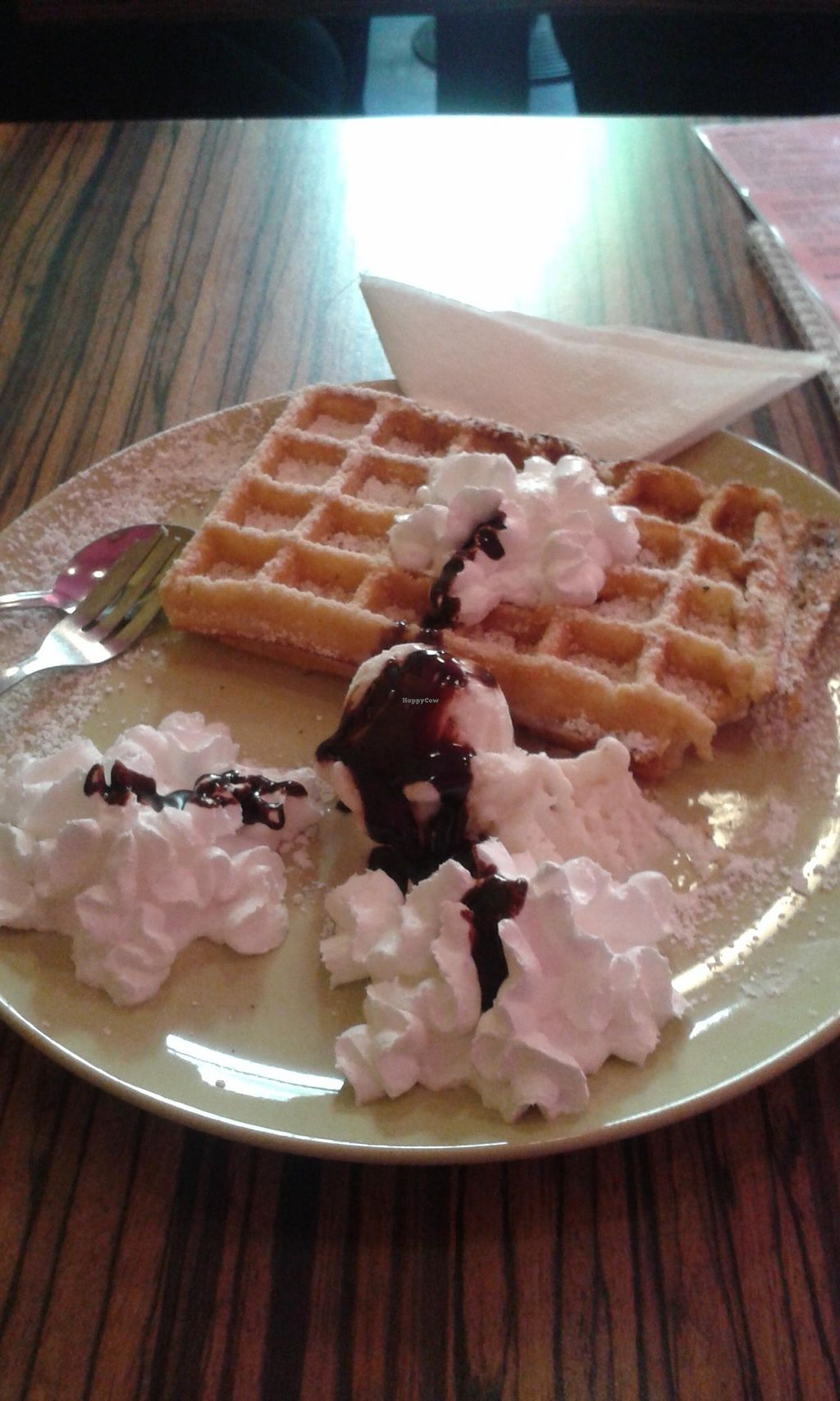"""Photo of Tanne B  by <a href=""""/members/profile/Doro%2A"""">Doro*</a> <br/>Waffle with bounty ice cream,  whipped cream and chocolate topping - all vegan!  <br/> October 18, 2015  - <a href='/contact/abuse/image/35628/121711'>Report</a>"""