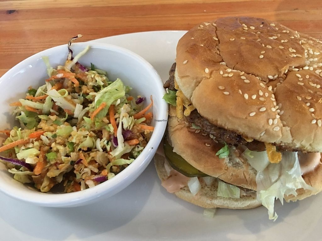 """Photo of Green New American Vegetarian  by <a href=""""/members/profile/TraciH"""">TraciH</a> <br/>Big Wac with Tahini Coleslaw <br/> July 18, 2016  - <a href='/contact/abuse/image/3562/160734'>Report</a>"""