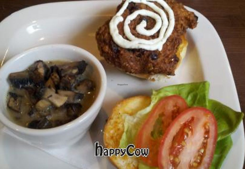 "Photo of REMOVED: The WORX  by <a href=""/members/profile/appandy15"">appandy15</a> <br/>Housemade veggie burger with lime sour cream and a side of grilled portobello mushrooms <br/> December 9, 2012  - <a href='/contact/abuse/image/35645/214583'>Report</a>"