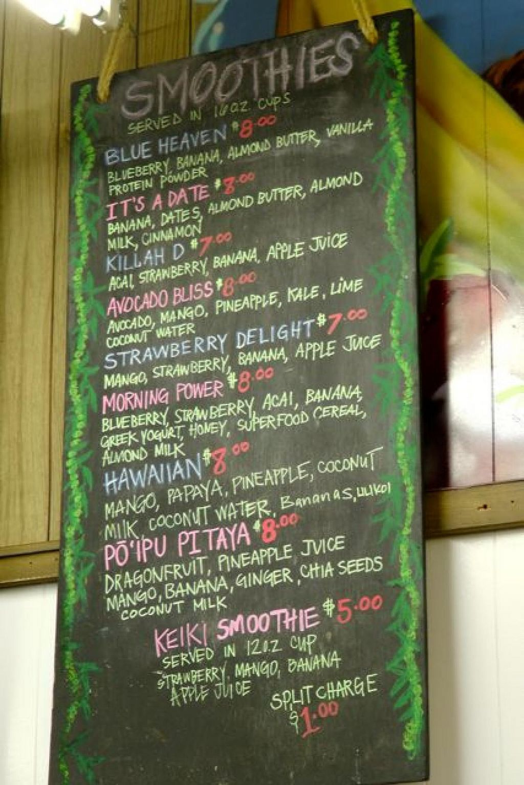"""Photo of Aloha 'Aina Juice Cafe  by <a href=""""/members/profile/trinitybourne"""">trinitybourne</a> <br/>Great choice of quality smoothies <br/> February 14, 2015  - <a href='/contact/abuse/image/35649/93000'>Report</a>"""