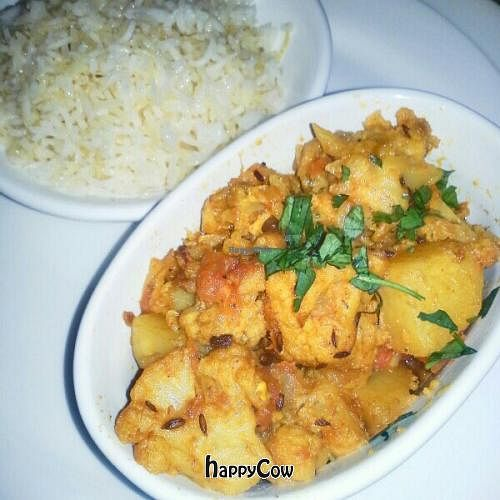 """Photo of CLOSED: Cozy Tea in Five Points  by <a href=""""/members/profile/JessinJax"""">JessinJax</a> <br/>Aloo Gobi with rice pulao- available Fri/Sat evenings only. 100% Vegan <br/> December 9, 2012  - <a href='/contact/abuse/image/35671/41438'>Report</a>"""