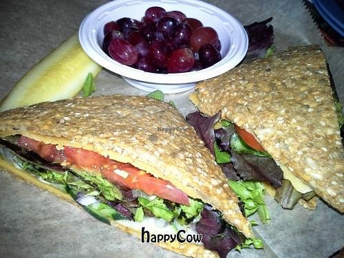 """Photo of European Street  by <a href=""""/members/profile/JessinJax"""">JessinJax</a> <br/>100% Raw/Vegan Shakti Sunshine Sandwich: Two slices of rich cashew cheeze topped with spring mix, tomatoes, red onions and cucumbers <br/> December 9, 2012  - <a href='/contact/abuse/image/35672/41441'>Report</a>"""