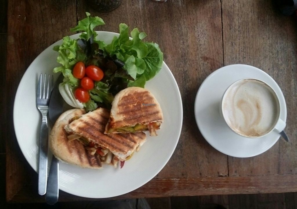 """Photo of Taa Peng Cat Coffee and Eatery  by <a href=""""/members/profile/Mike%20Munsie"""">Mike Munsie</a> <br/>vego panini + soy latte <br/> May 30, 2017  - <a href='/contact/abuse/image/35676/264115'>Report</a>"""