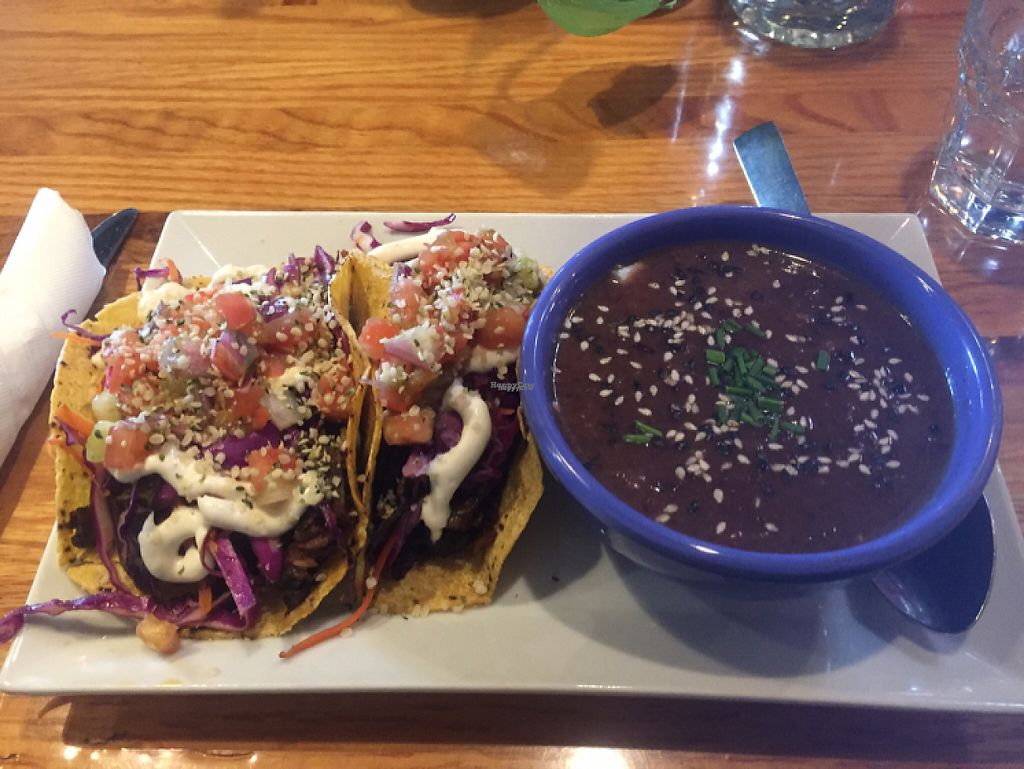 """Photo of Zest Kitchen & Bar  by <a href=""""/members/profile/LinnDaugherty"""">LinnDaugherty</a> <br/>BBQ mushroom tacos with soup - yum  <br/> February 24, 2017  - <a href='/contact/abuse/image/35705/229844'>Report</a>"""