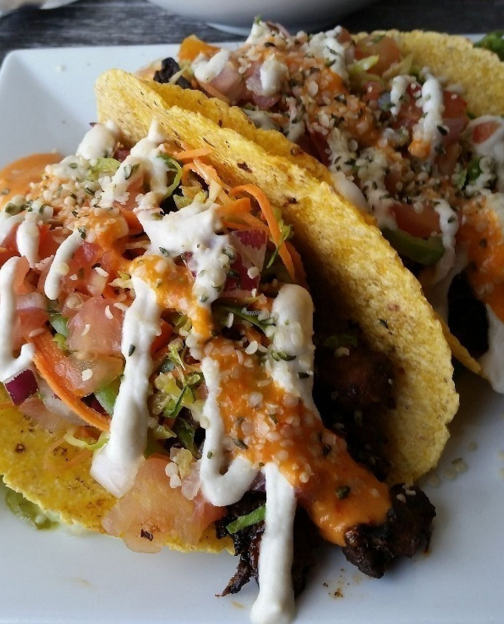 """Photo of Zest Kitchen & Bar  by <a href=""""/members/profile/caseystaker"""">caseystaker</a> <br/>portobello barbacoa tacos on organic corn tortilla shells on our lunch/brunch menu only <br/> December 3, 2016  - <a href='/contact/abuse/image/35705/230411'>Report</a>"""