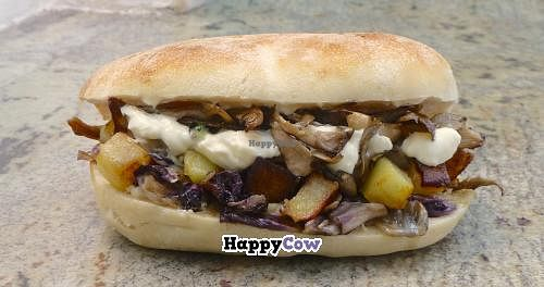 "Photo of Il Drago - Pizzeria Paninoteca Vegan Food  by <a href=""/members/profile/VeganTrav"">VeganTrav</a> <br/>'Vegan Panini 'Shanti': grilled radicchio, roast mushrooms, roast potatoes, vegan cheese, vegan maionese and tabasco <br/> November 27, 2013  - <a href='/contact/abuse/image/35723/59185'>Report</a>"
