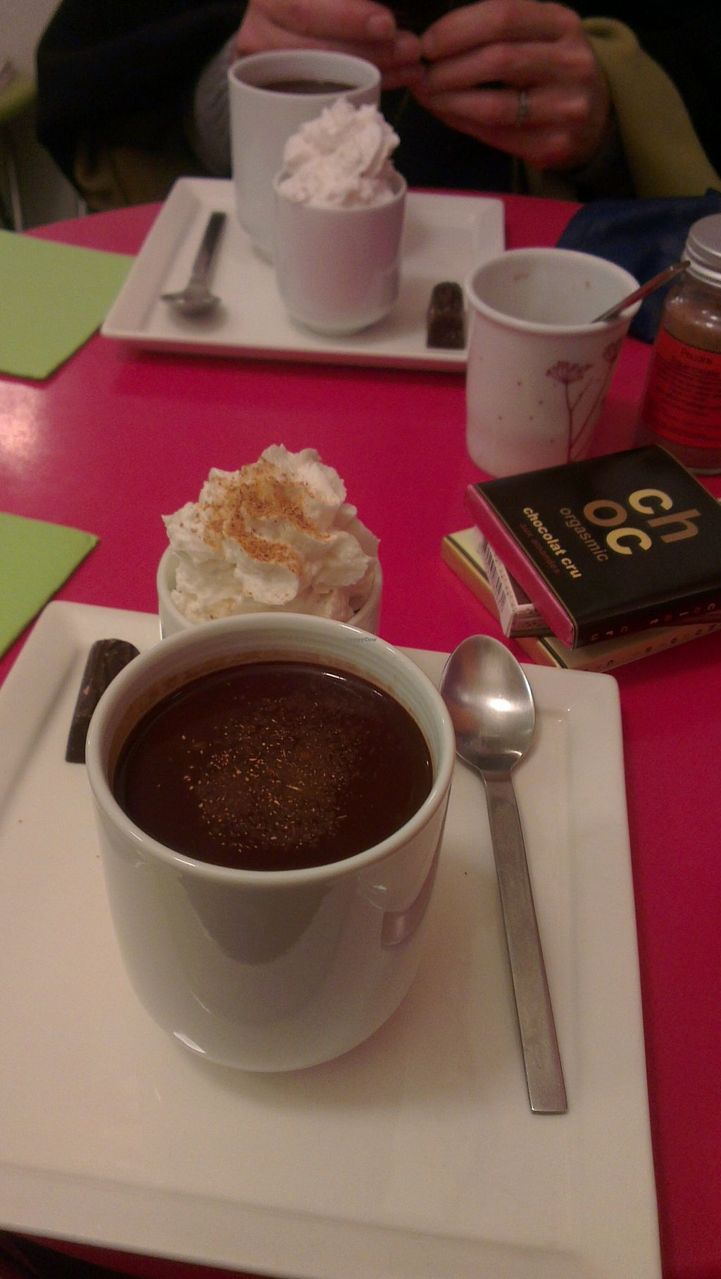 """Photo of ChocoLATITUDES  by <a href=""""/members/profile/ZannaStar"""">ZannaStar</a> <br/>vegan hot chocolate with vegan whipped cream for two at the back of the shop, plus some yummy purchases <br/> August 30, 2015  - <a href='/contact/abuse/image/35799/115809'>Report</a>"""