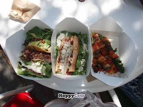 """Photo of CLOSED: Soul Sisters  by <a href=""""/members/profile/hillcruiser"""">hillcruiser</a> <br/>African tacos with spicy jerk sauce, chikn pizza sub, veggie kebabs <br/> July 22, 2013  - <a href='/contact/abuse/image/35839/51910'>Report</a>"""